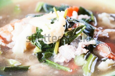 Close up fried rice gravy pork noodles  Stock photo © nalinratphi