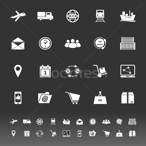 Logistic icons on gray background Stock photo © nalinratphi