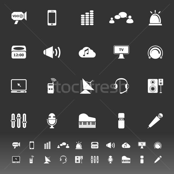 Sound icons on gray background Stock photo © nalinratphi