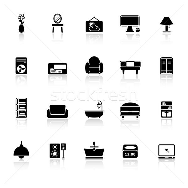 Stock fotó: Otthon · bútor · ikonok · fehér · stock · vektor