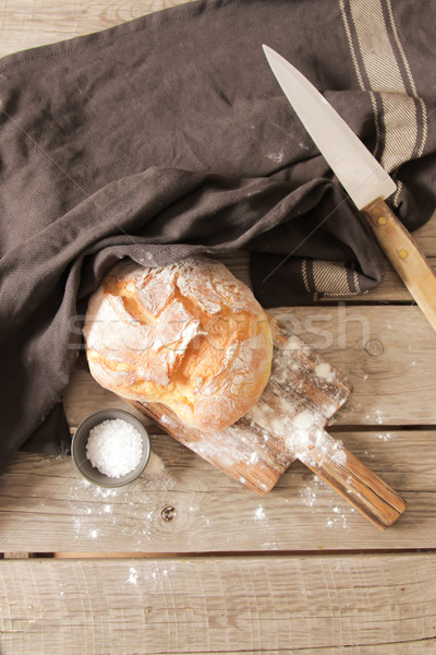 Fraîches pain sel bois romarin Photo stock © Naltik