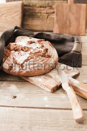 Taze ekmek tuz ahşap biberiye Stok fotoğraf © Naltik