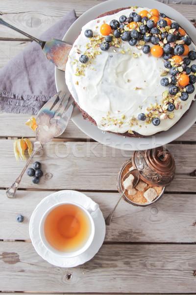пирог продовольствие кофе фон кремом Sweet Сток-фото © Naltik