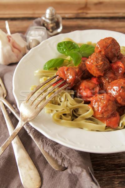 meatballs, tomato sauce in the Tagliatelle and basil  Stock photo © Naltik