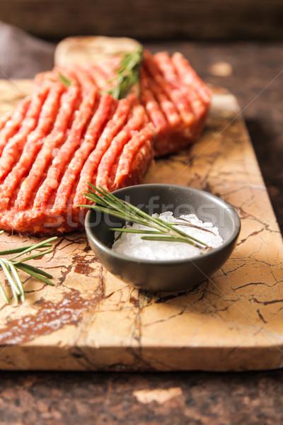 сырой землю говядины мяса Burger стейк Сток-фото © Naltik