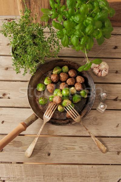 ミートボール キャベツ バジル パン 木製 ストックフォト © Naltik