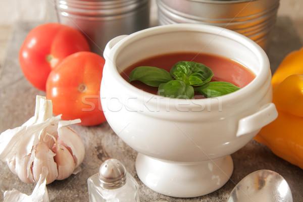 tomato soup with basil in white plate Stock photo © Naltik