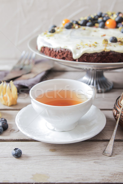 Taart koffie achtergrond dessert eten room Stockfoto © Naltik