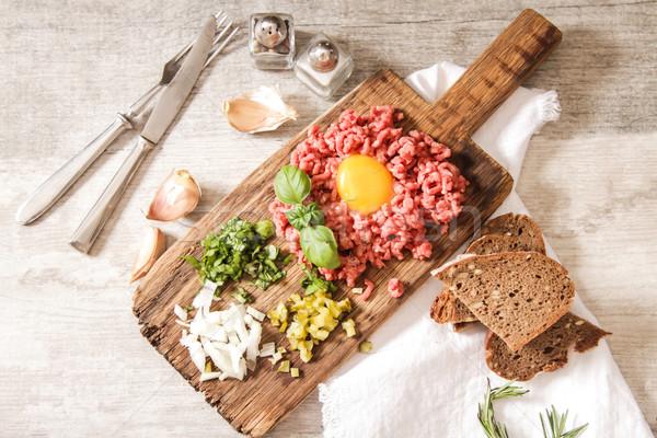 Bira sığır eti salatalık taze soğan Stok fotoğraf © Naltik