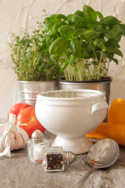 Soupe à la tomate basilic blanche plaque marbre fond Photo stock © Naltik