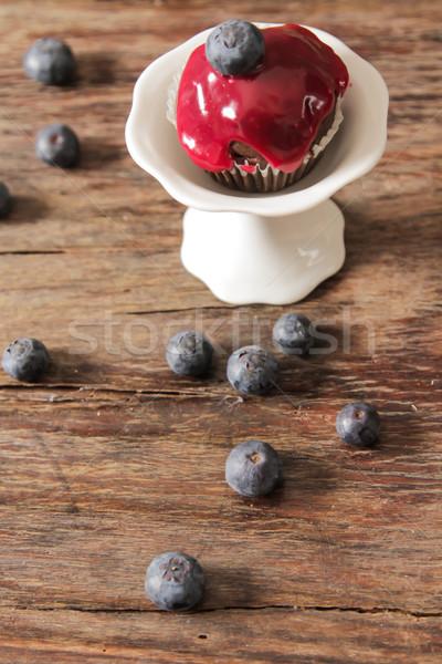 Stock fotó: Muffinok · eprek · áfonya · reggeli · fából · készült · kávé