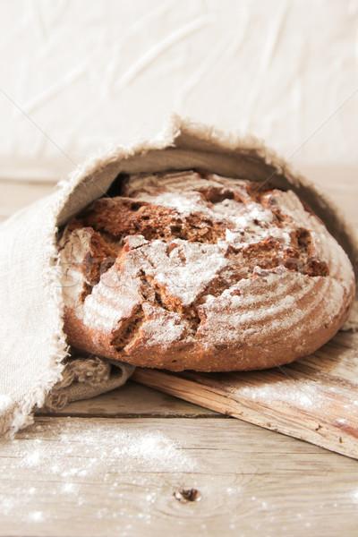 Vers brood zout houten rosmarijn Stockfoto © Naltik