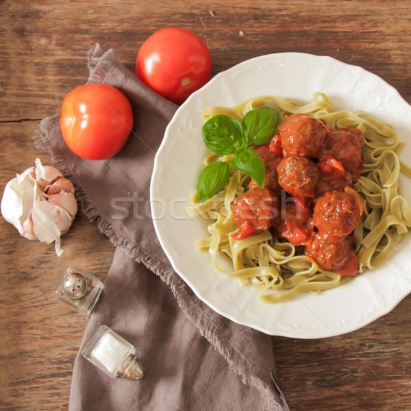 Köfte domates sosu tagliatelle fesleğen et Stok fotoğraf © Naltik