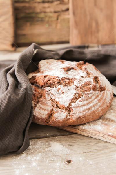Friss kenyér só fából készült szeletel rozmaring Stock fotó © Naltik