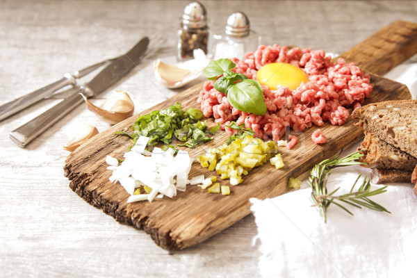 beer snack Beef tartare with pickled cucumber  Stock photo © Naltik