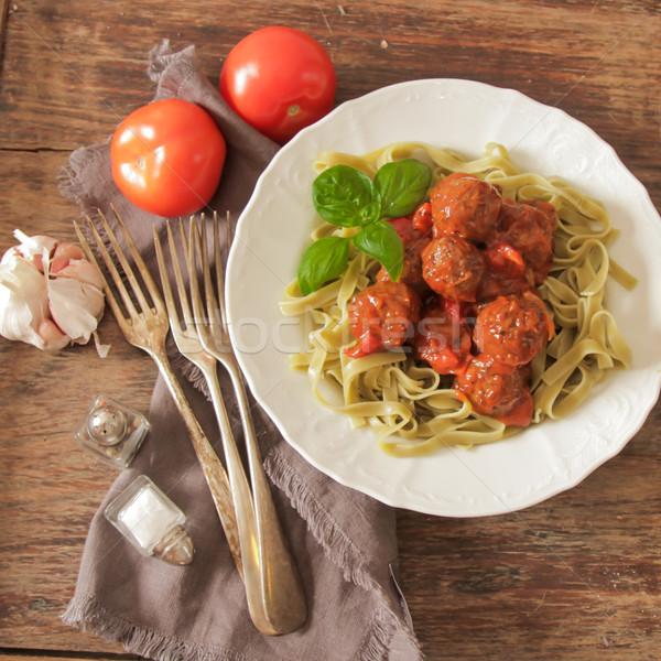 Gehaktballetjes tomatensaus tagliatelle basilicum vlees Stockfoto © Naltik