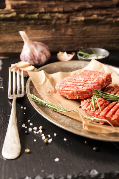 Zemin sığır eti et Burger biftek Stok fotoğraf © Naltik