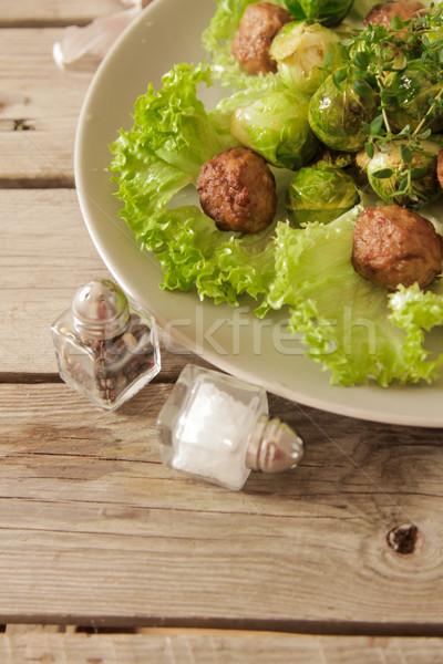 ミートボール キャベツ レタス バジル 木製 食品 ストックフォト © Naltik