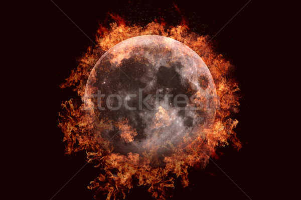 Planet in fire - Moon. Science fiction art. Stock photo © NASA_images
