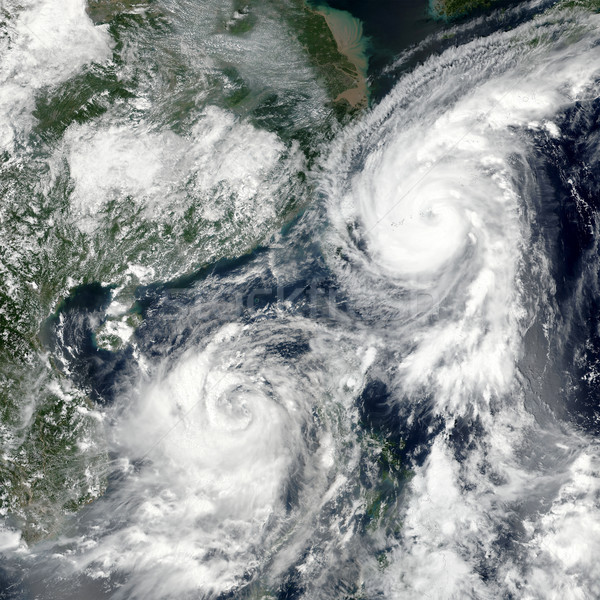 Typhoons Talim and Doksuri. Elements of this image furnished by NASA. Stock photo © NASA_images