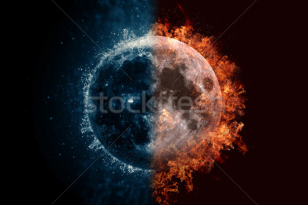 Moon in water and fire. Concept sci-fi artwork Stock photo © NASA_images