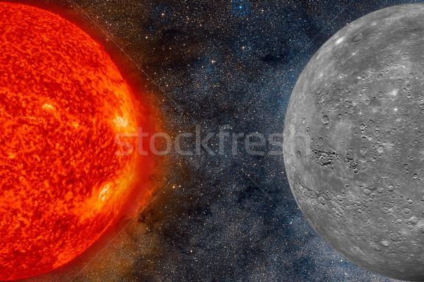 Foto stock: Sistema · solar · planeta · sol · oito · planetas · terra