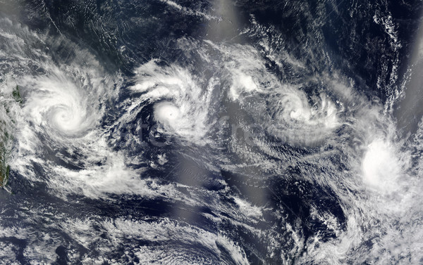 Four cyclones. View from space. Elements of this image are furnished by NASA Stock photo © NASA_images