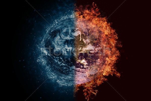 Planet Earth in water and fire. Concept sci-fi artwork Stock photo © NASA_images