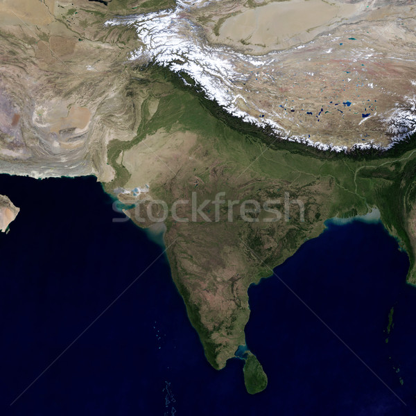 Stock photo: India and the surrounding region. View from space.