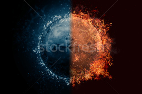 Planet Mars in water and fire. Concept sci-fi artwork Stock photo © NASA_images