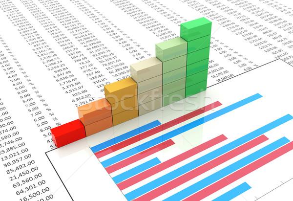 Haladás bár táblázat 3D rácsok diagram Stock fotó © nasirkhan