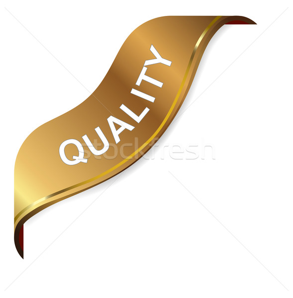 'Quality' golden corner ribbon Stock photo © nasirkhan