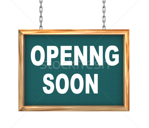 3d hanging banner - opening soon Stock photo © nasirkhan