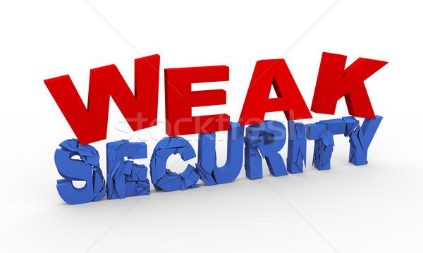 Stock photo: 3d word weak security