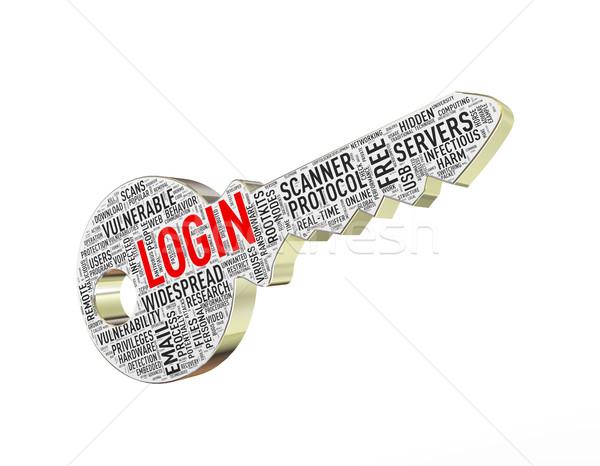 3d login wordcloud tag key  Stock photo © nasirkhan
