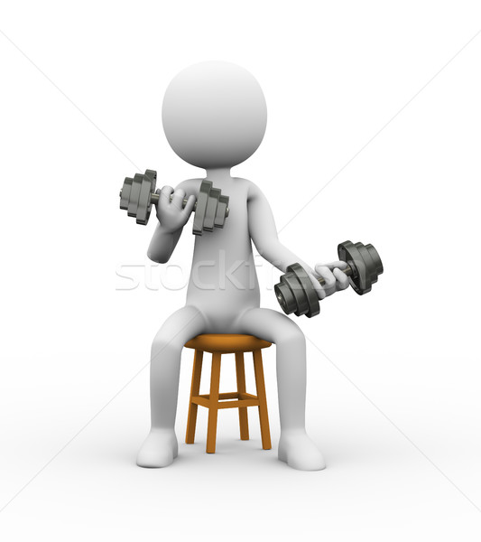 3d man on stool gym dumbbell exercise Stock photo © nasirkhan