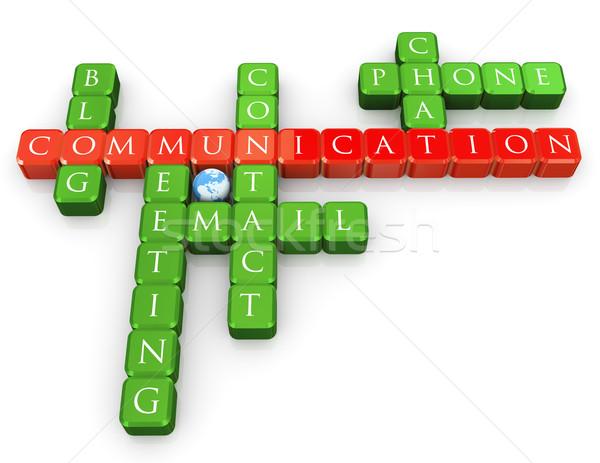 Keresztrejtvény kommunikáció 3d render világ kereszt oktatás Stock fotó © nasirkhan
