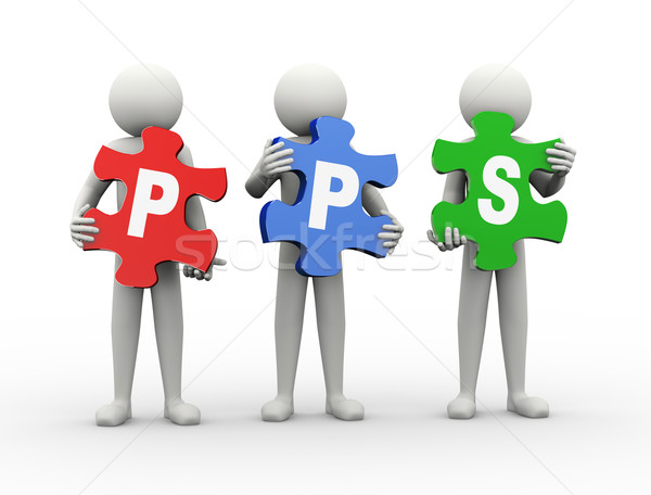 Stock photo: 3d man puzzle piece - pps