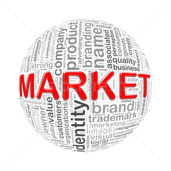 Wordcloud word tags ball of market Stock photo © nasirkhan