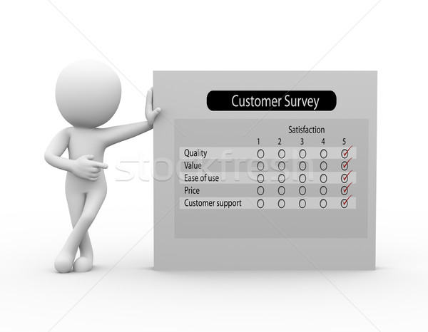 3d man with customer survey Stock photo © nasirkhan