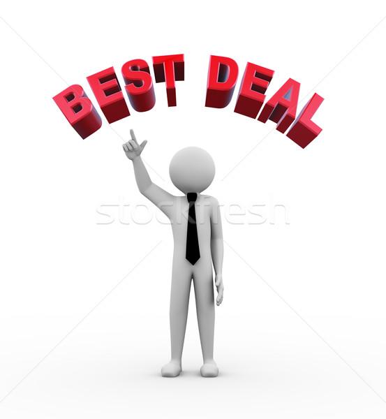 3d businessman with best deal illustration Stock photo © nasirkhan
