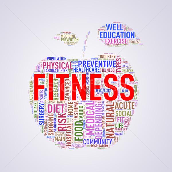 Healthcare apple shape wordcloud fitness Stock photo © nasirkhan