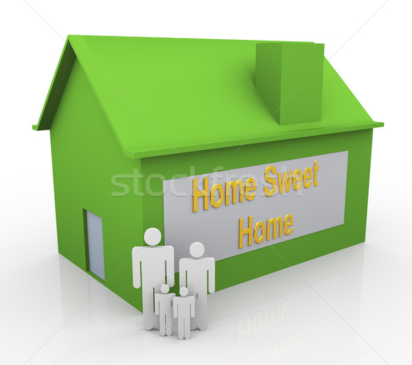 3D famiglia felice casa dolce casa testo bambino Foto d'archivio © nasirkhan