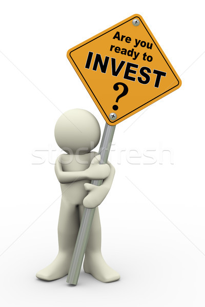 3d man with invest sign board Stock photo © nasirkhan