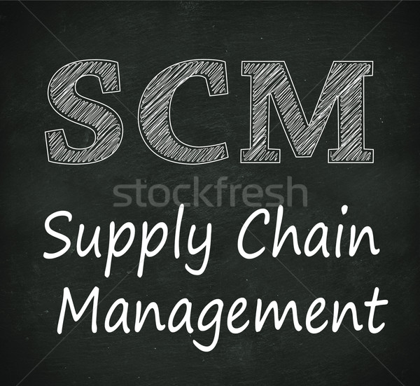 Chalkboard illustration of scm - supply chain management Stock photo © nasirkhan
