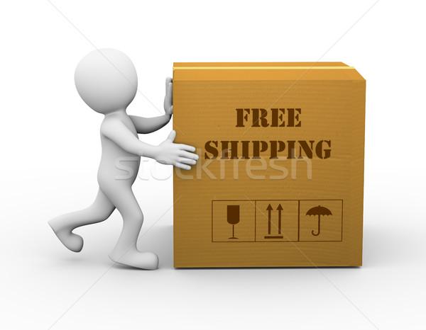 3d man pushing free shipment box Stock photo © nasirkhan