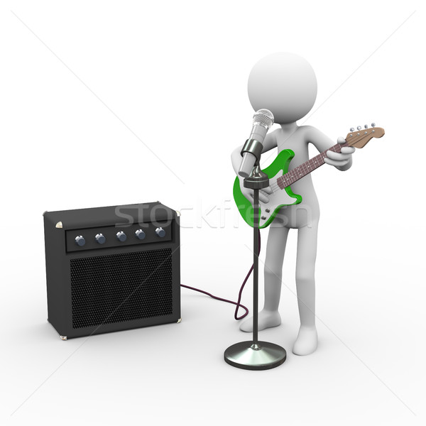 3d singing electric guitarist with amp and guitar rig Stock photo © nasirkhan