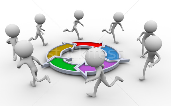 3d people running around diagram Stock photo © nasirkhan
