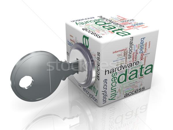 Adatvédelem 3d render szófelhő kocka kulcs érzékeny Stock fotó © nasirkhan