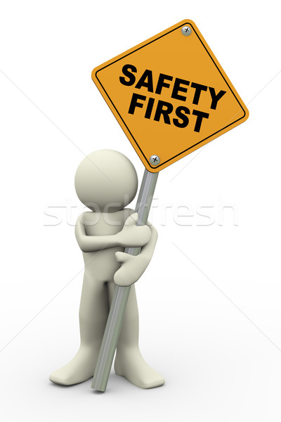 3d man with safety first sign board Stock photo © nasirkhan
